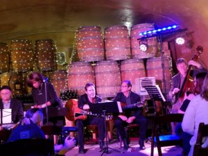 "Seattle-based Pearl Django in the ""cave"" at Karma Winery"