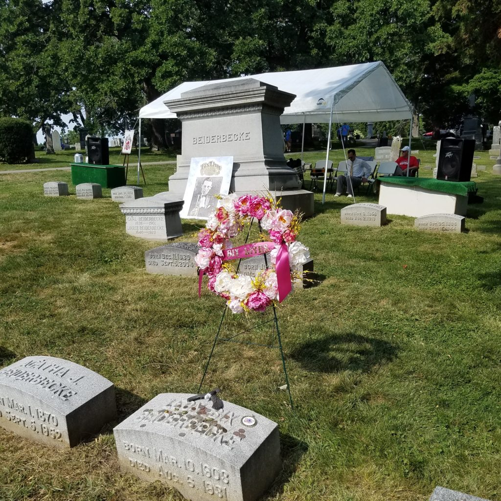 Graveside Event at the Beiderbecke family plot in Oakdale Memorial Gardens, Davenport, Iowa